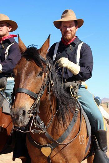 John Payne, Jr. ('89) on his cavalry mount. Payne is a member of B Troop, 4th U.S. Cavalry Regiment (Memorial).
