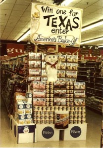 Example of Pillsbury cake mix display customized by Allison for one of her stores in Texas.