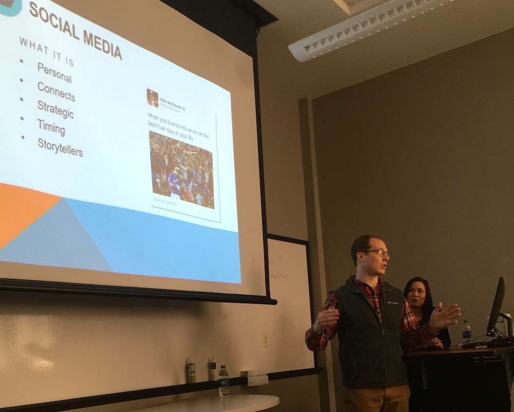 Lance Ingram, online content manager for the Tupelo Convention & Visitors Bureau, explains to IMC 390 students the themes emphasized in the CVB's marketing efforts.