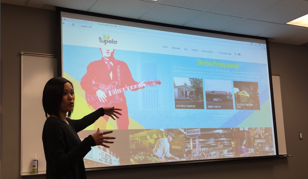 Kylie Boring, director of marketing for the CVB, discusses Tupelo's main attractions, including its musical heritage, as part of her presentation to IMC 390 students.