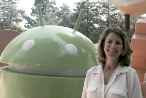 Associate Professor Deb Wenger in Google's Android Sculpture Garden after completing Google News Lab training in Mountain View, California.