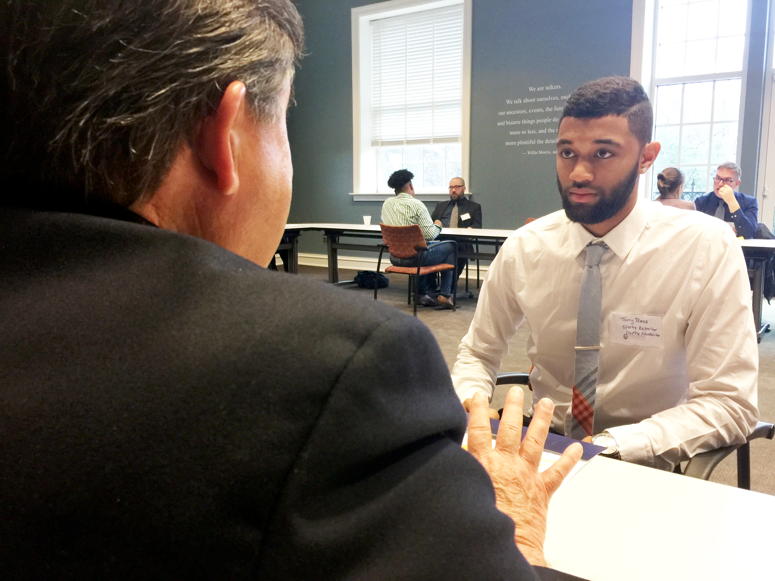 University of Mississippi student Torry Rees speaks with radio broadcaster Jeff Covington during a past MAB event.