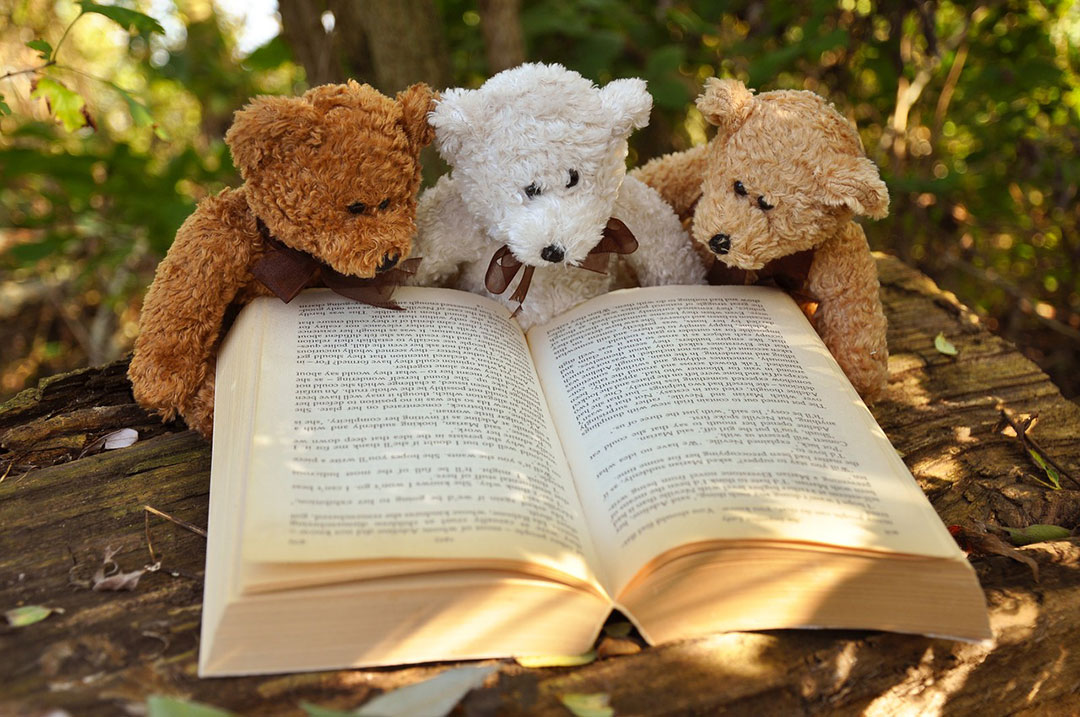 Three small bears reading a large book.