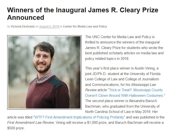 UM School of Journalism and New Media alumnus wins first place in law and policy competition