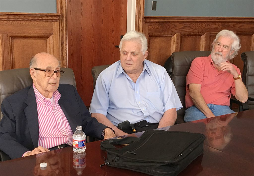 From left, Harold Burson, former University of Mississippi Chancellor Robert Khayat, and journalist Curtis Wlkie were among those who attended the faculty meeting with Burson.