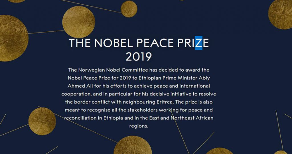 The front of the Nobel Peace Prize website.
