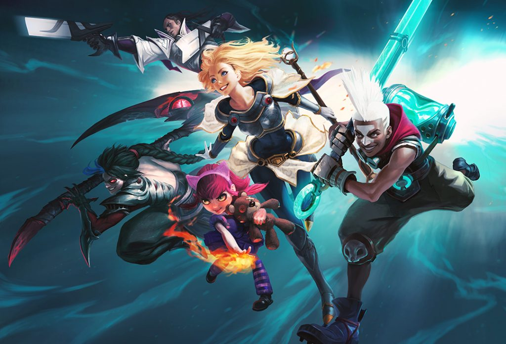 A still photo from League of Legends showing some of the characters.