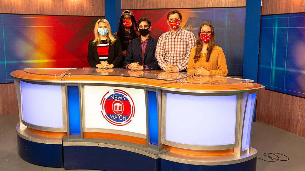 Memphis news station WREG-TV donated its station's anchor desk to 'NewsWatch Ole Miss,' the University of Mississippi's student-run broadcast. Submitted photo