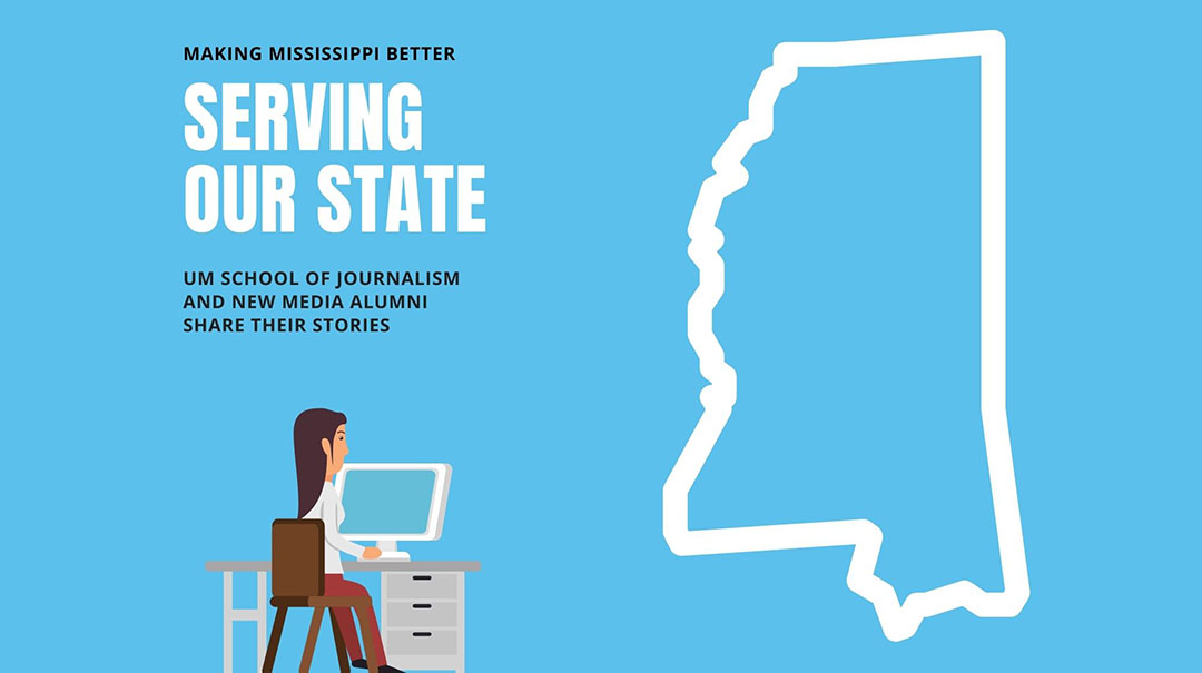 A graphic featuring a woman working at her computer with the state of Mississippi. It reads Serving Our State.